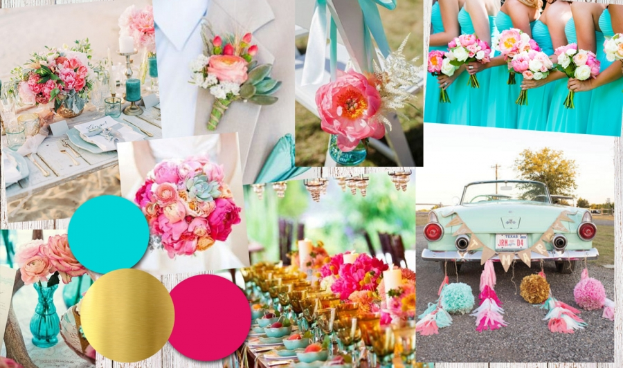 Colour Inspiration: Aqua, Pink and Gold